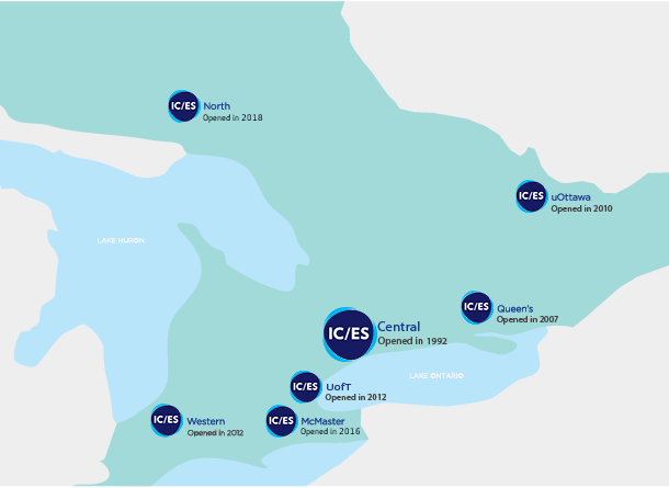 ICES satellite locations map