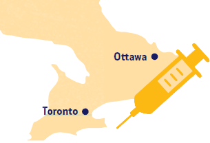 Map of Ontario showing Toronto and Ottawa